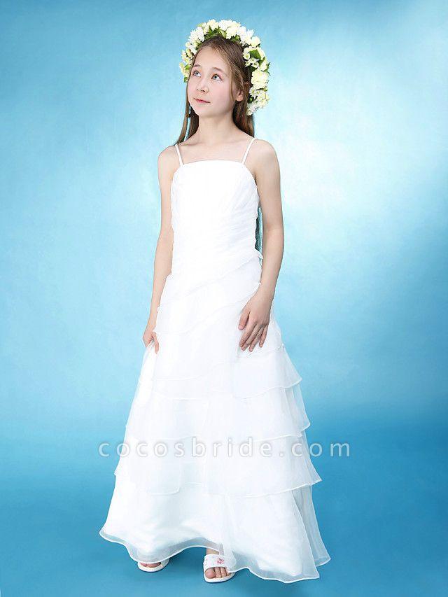Princess / A-Line Spaghetti Strap Floor Length Organza / Satin Junior Bridesmaid Dress With Side Draping / Spring / Summer / Fall / Wedding Party / Natural