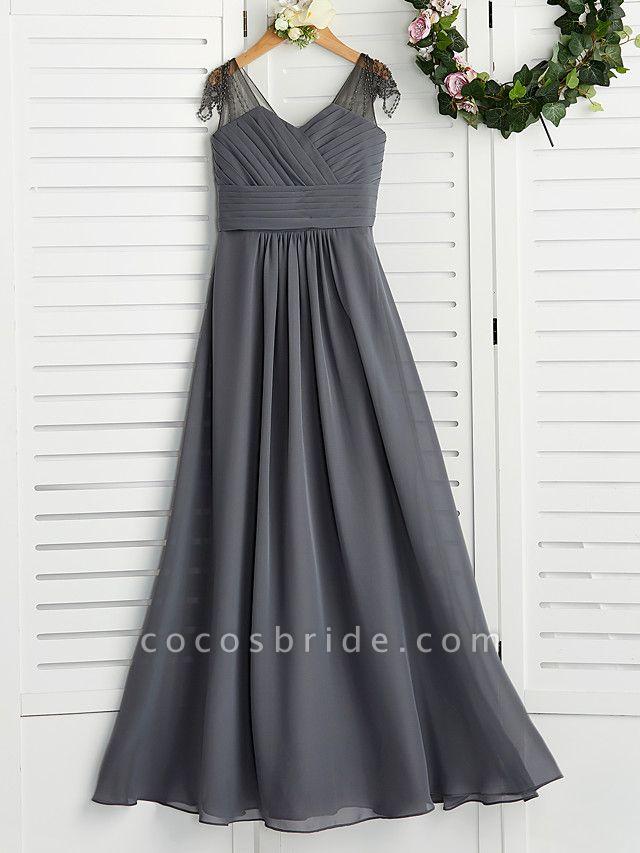 A-Line V Neck Maxi Chiffon Junior Bridesmaid Dress With Ruching
