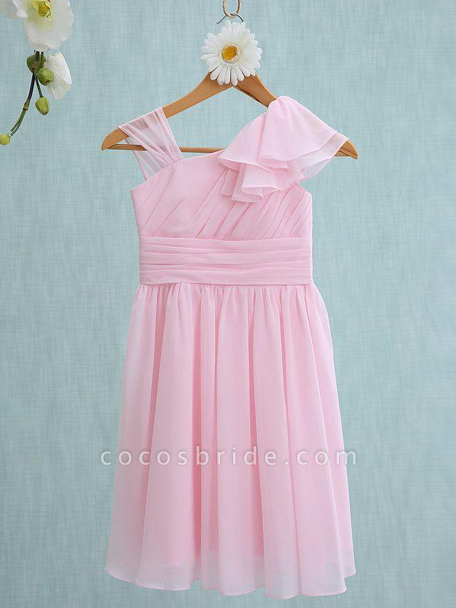 Sheath / Column Straps Knee Length Chiffon Junior Bridesmaid Dress With Ruffles / Side Draping / Natural