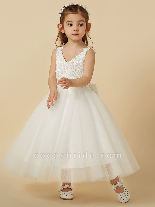 A-Line Knee Length Wedding / First Communion Flower Girl Dresses - Lace / Tulle Sleeveless V Neck With Bow(S)