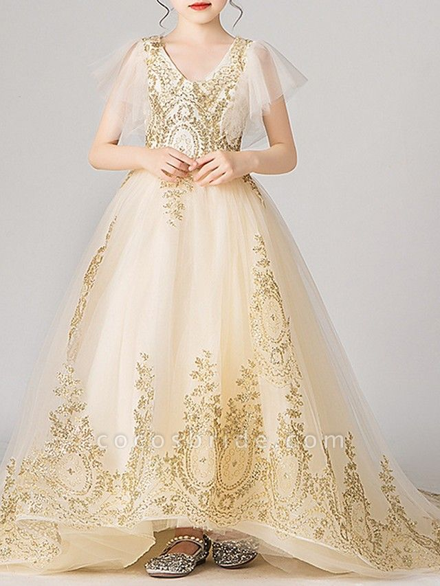 Ball Gown Sweep / Brush Train Pageant Flower Girl Dresses - Polyester Short Sleeve V Neck With Appliques