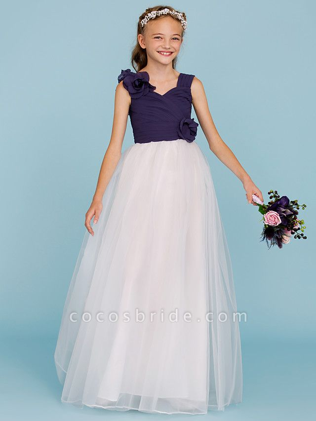 Princess / A-Line Straps Floor Length Chiffon / Tulle Junior Bridesmaid Dress With Criss Cross / Ruched / Flower / Color Block / Floral / Wedding Party