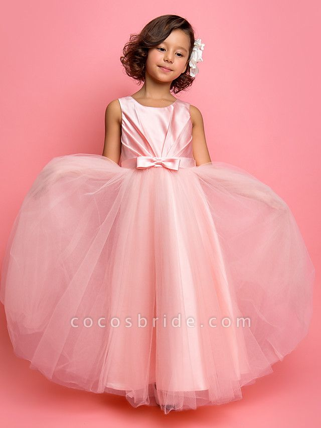 Princess / A-Line Ankle Length Satin / Tulle Sleeveless Jewel Neck With Sash / Ribbon / Bow(S) / Side Draping
