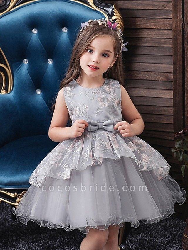 Princess / Ball Gown Knee Length Wedding / Party Flower Girl Dresses - Tulle Sleeveless Jewel Neck With Bow(S) / Tier