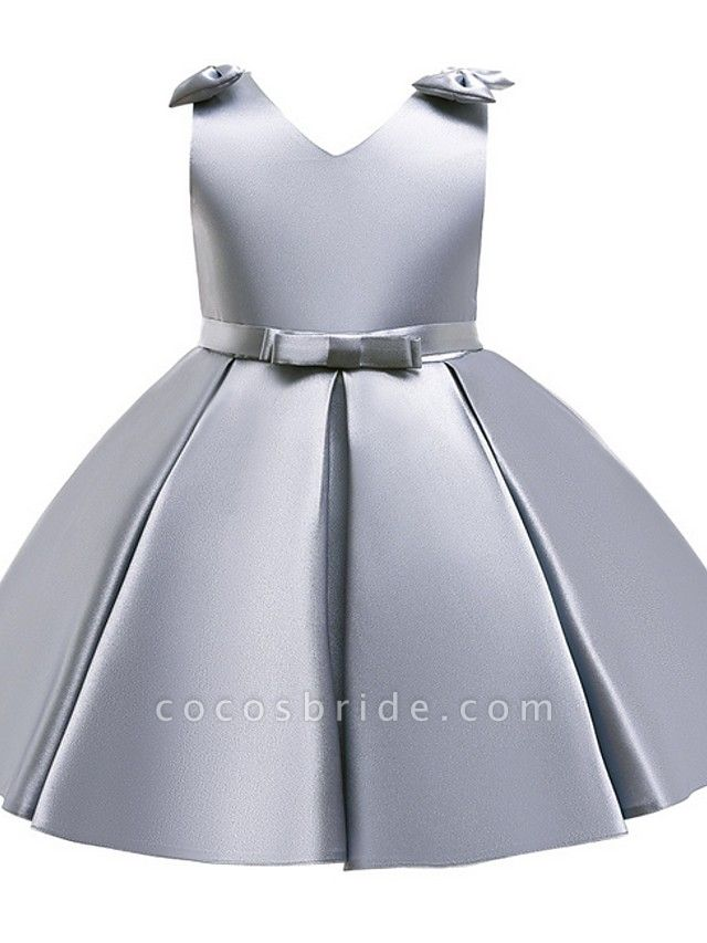 Princess / Ball Gown Knee Length Wedding / Party Flower Girl Dresses - Satin Sleeveless V Neck With Bow(S) / Pleats
