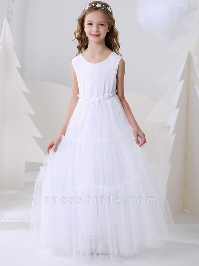 Ball Gown Floor Length Event / Party Flower Girl Dresses - Polyester Sleeveless Jewel Neck With Pattern / Print