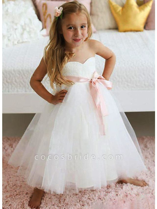 A-Line Knee Length Wedding / Party Flower Girl Dresses - Lace / Tulle Sleeveless Jewel Neck With Sash / Ribbon / Tier