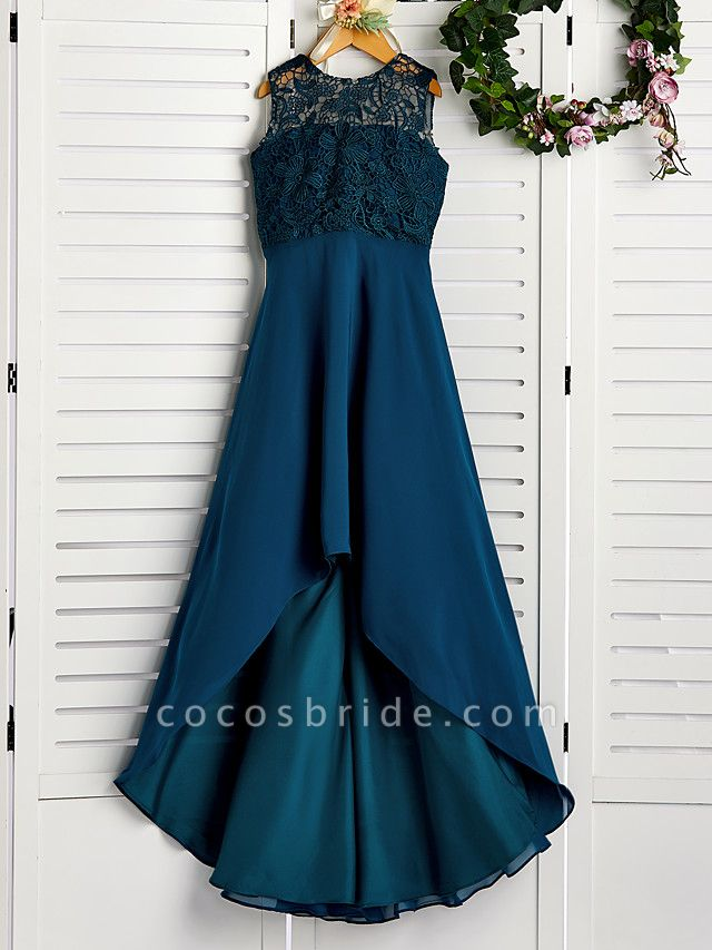 A-Line Jewel Neck Asymmetrical / Tea Length Chiffon / Lace Junior Bridesmaid Dress With Lace