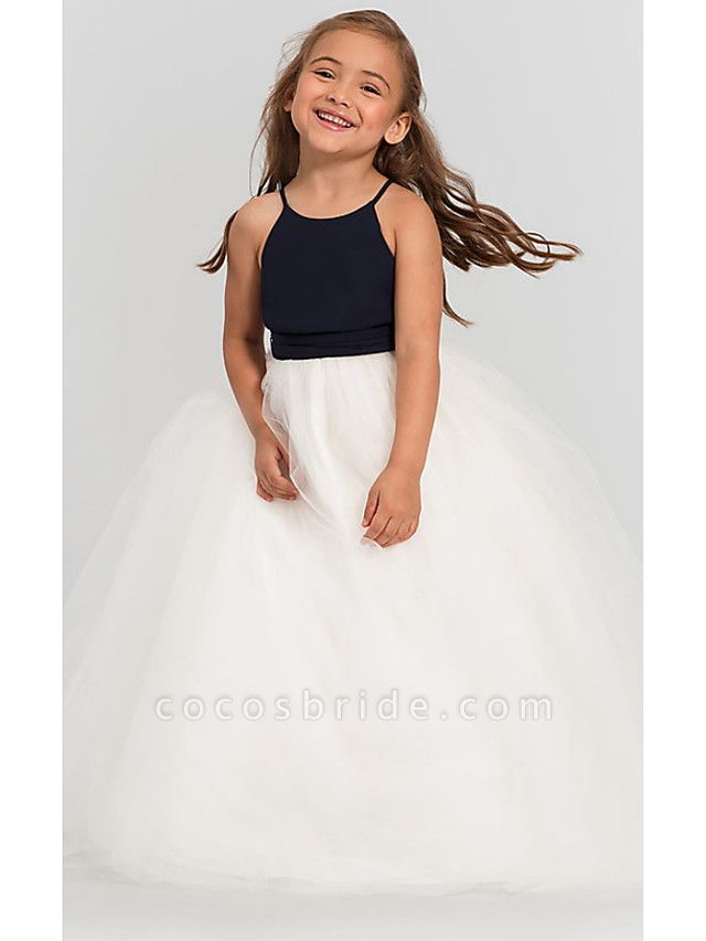 A-Line Floor Length Wedding / Party Flower Girl Dresses - Satin / Taffeta / Tulle Sleeveless Jewel Neck With Bow(S) / Tier