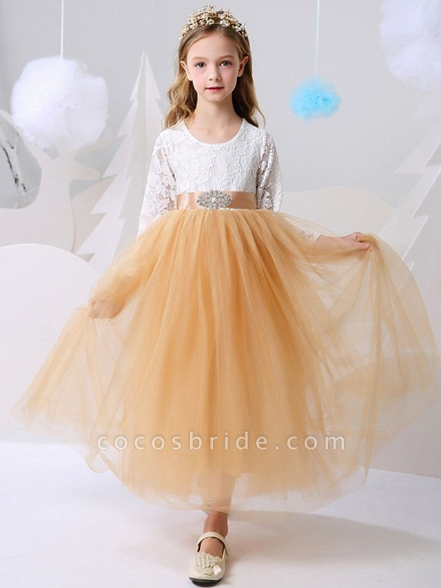 Ball Gown Floor Length Party / Birthday Flower Girl Dresses - Polyester Long Sleeve Jewel Neck With Color Block
