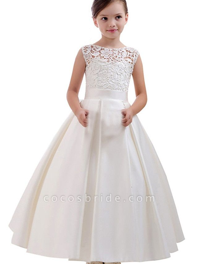 Princess / A-Line Floor Length Wedding / Party Flower Girl Dresses - Lace / Satin Short Sleeve Jewel Neck With Pleats / Solid