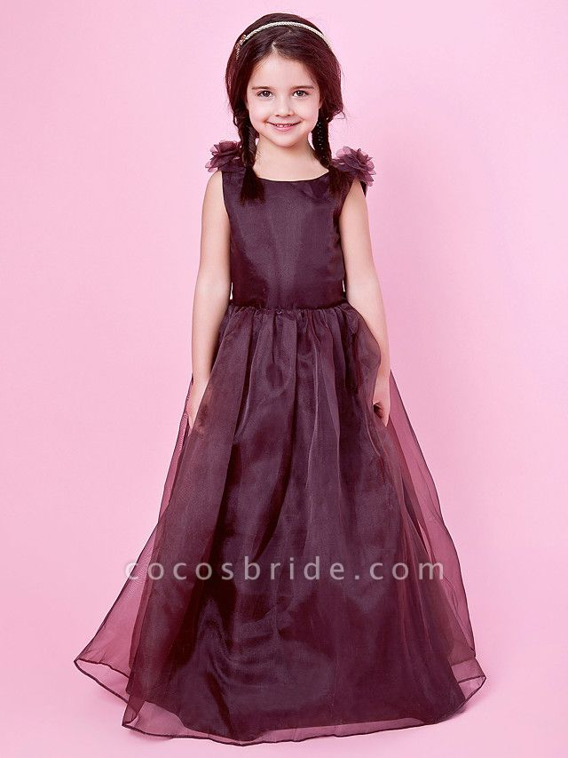 Princess / A-Line Floor Length Wedding Party Organza / Satin Sleeveless Jewel Neck With Bow(S) / Draping / Flower / Spring / Fall / Winter