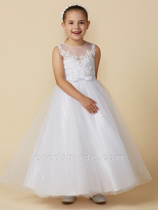 Princess Ankle Length Wedding / First Communion Lace / Tulle Sleeveless Boat Neck With Lace / Bow(S)