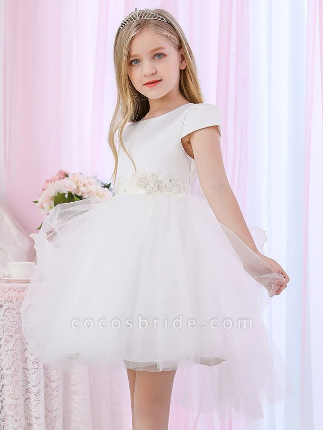 Princess / Ball Gown Medium Length Wedding / Event / Party Flower Girl Dresses - Satin / Tulle Cap Sleeve Jewel Neck With Beading / Appliques / Color Block