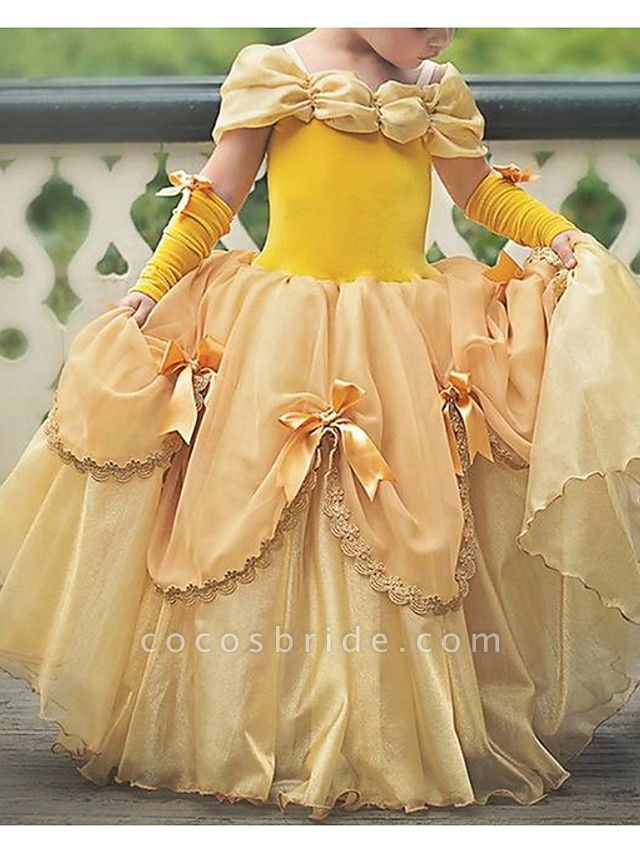 Ball Gown Floor Length Pageant Flower Girl Dresses - Polyester Short Sleeve Off Shoulder With Bow(S)