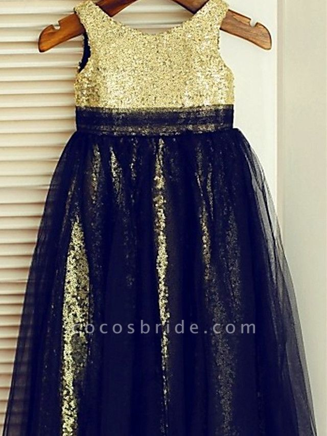 Ball Gown Knee Length Wedding / Party Flower Girl Dresses - Lace / Sequined Sleeveless Jewel Neck With Color Block / Paillette