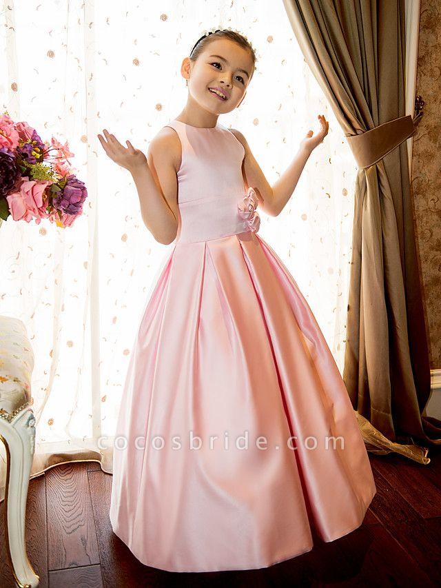 Princess / A-Line Floor Length First Communion Flower Girl Dresses - Satin Sleeveless Jewel Neck With Sash / Ribbon / Flower