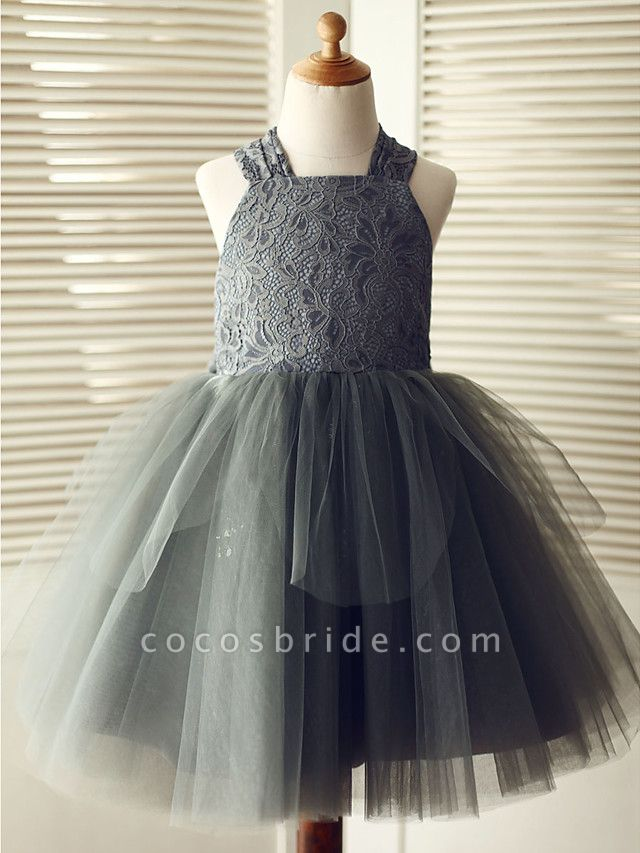 Ball Gown Knee Length Wedding / Birthday / Pageant Flower Girl Dresses - Lace / Tulle Sleeveless Square Neck With Bows