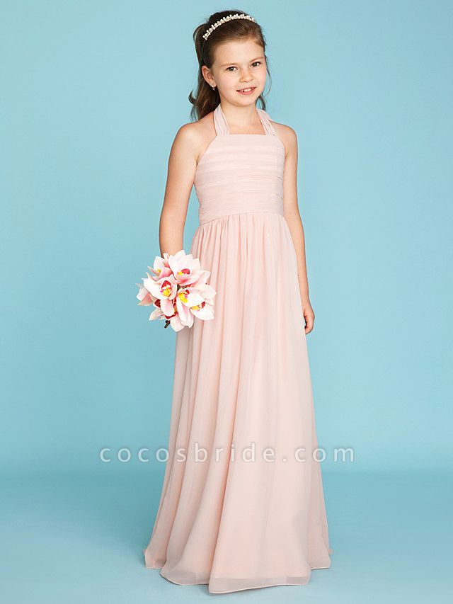 Princess / A-Line Halter Neck Floor Length Chiffon Junior Bridesmaid Dress With Pleats / Ruched