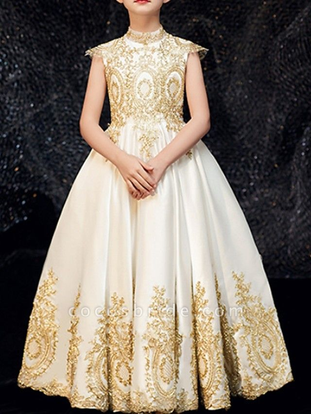 A-Line Floor Length Pageant Flower Girl Dresses - Polyester Sleeveless High Neck With Appliques