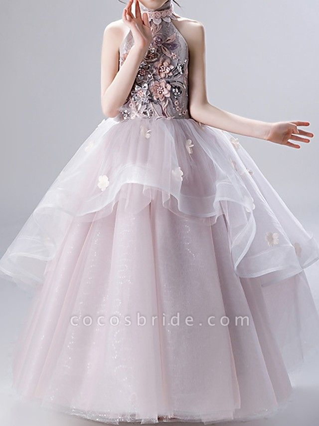 Ball Gown Ankle Length Pageant Flower Girl Dresses - Polyester Sleeveless High Neck With Ruffles / Appliques