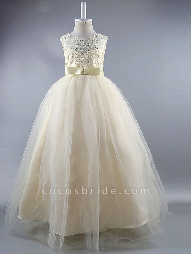 Ball Gown Ankle Length Wedding / First Communion / Pageant Flower Girl Dresses - Satin Sleeveless Jewel Neck With Lace / Sash / Ribbon / Draping / Elegant / Beautiful Back / See Through