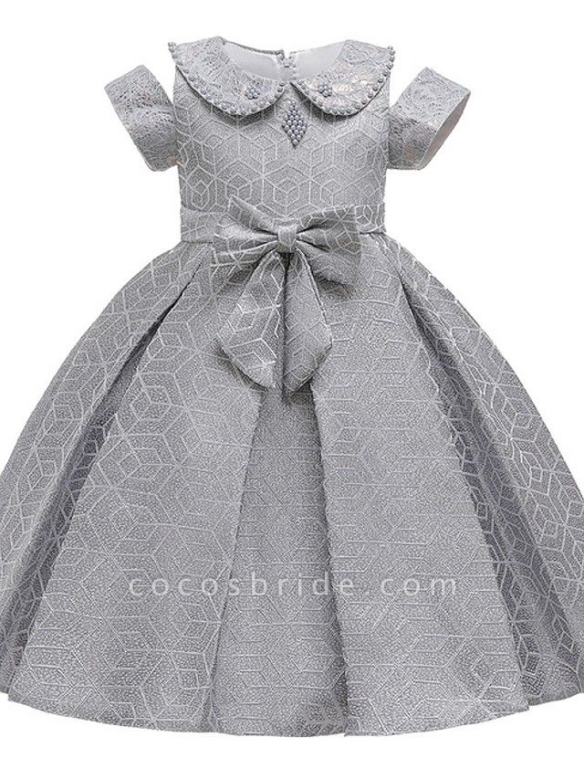 Princess / Ball Gown Knee Length Wedding / Party Flower Girl Dresses - Satin Short Sleeve Jewel Neck With Bow(S) / Beading