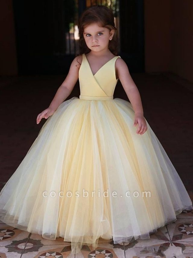 Princess / Ball Gown Floor Length Wedding / Party Flower Girl Dresses - Satin / Tulle Sleeveless V Neck With Pleats / Solid