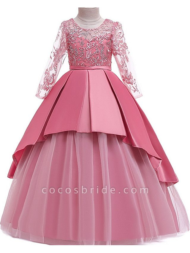 Ball Gown Floor Length Pageant Flower Girl Dresses - Polyester Long Sleeve Jewel Neck With Ruffles / Tier / Appliques