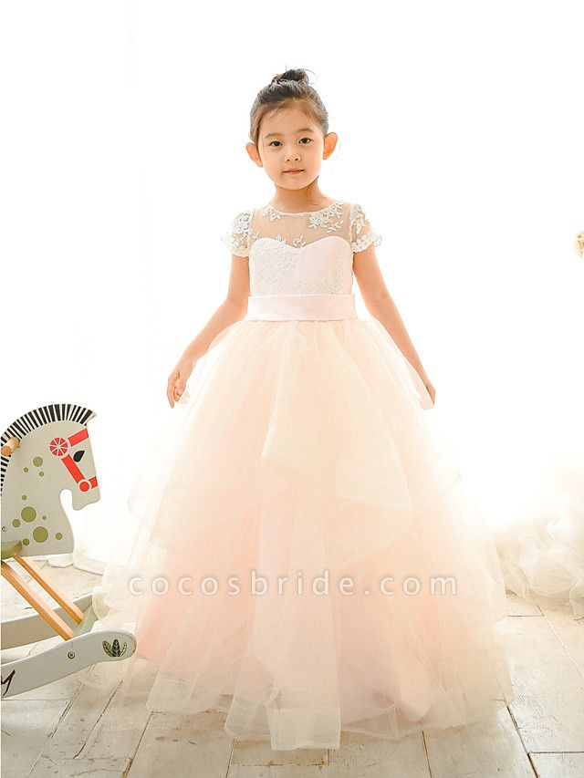 Ball Gown Floor Length Wedding / Birthday / Pageant Flower Girl Dresses - Lace / Tulle Short Sleeve Jewel Neck With Belt / Buttons