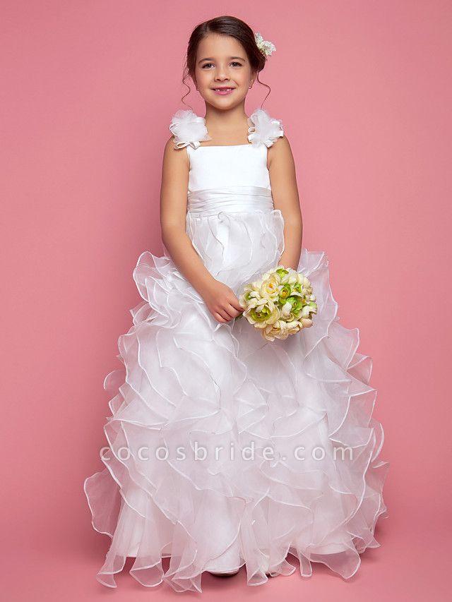 Princess / A-Line Floor Length Organza / Satin Sleeveless Straps With Sash / Ribbon / Ruched / Cascading Ruffles