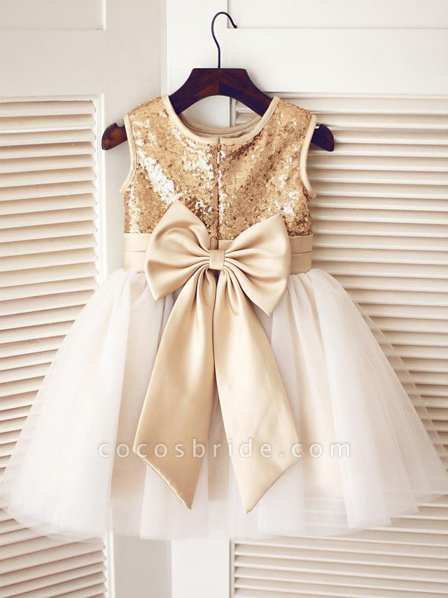 A-Line Knee Length Pageant Flower Girl Dresses - Tulle / Sequined Sleeveless Jewel Neck With Bow(S) / Sequin