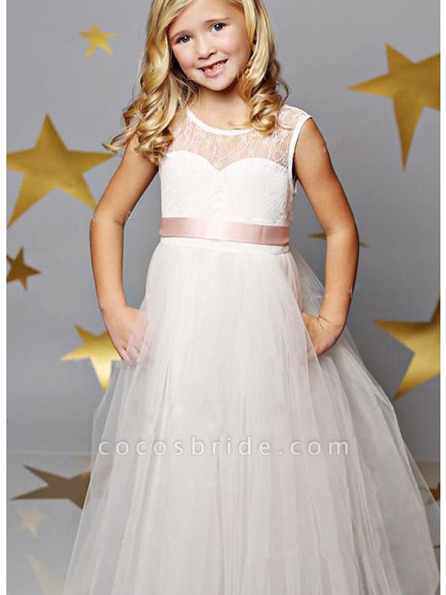 A-Line Floor Length Wedding / Party Flower Girl Dresses - Lace / Satin / Tulle Sleeveless Illusion Neck With Solid