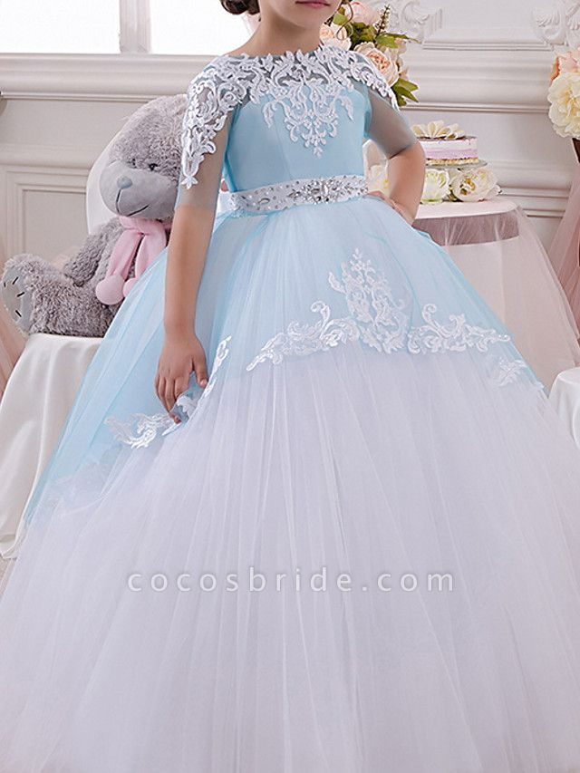 Ball Gown Floor Length Pageant Flower Girl Dresses - Polyester Half Sleeve Jewel Neck With Bow(S) / Appliques