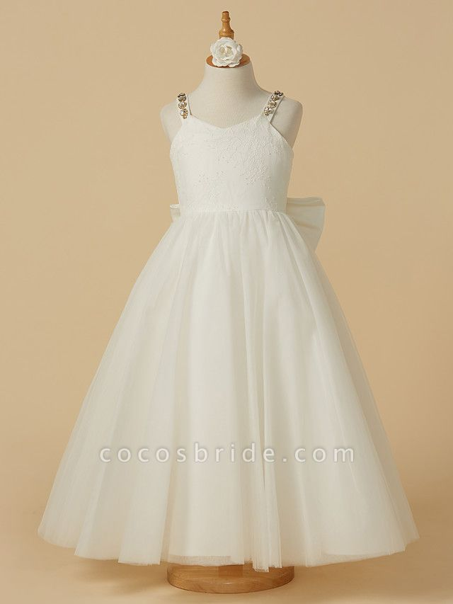 A-Line Ankle Length Wedding / First Communion Flower Girl Dresses - Lace / Tulle Sleeveless Straps With Bow(S) / Beading