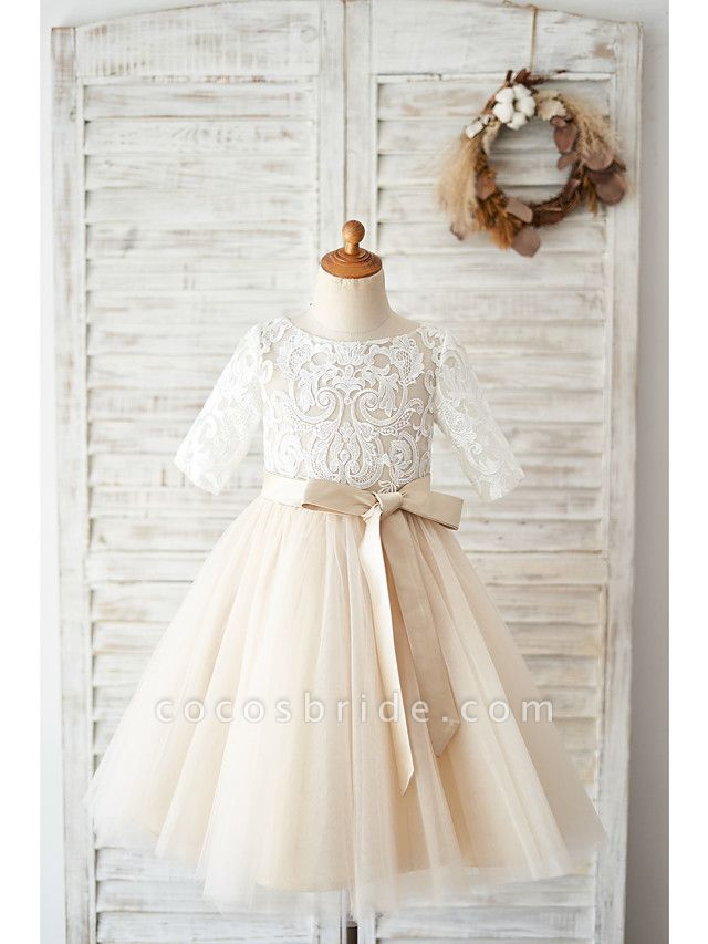 Ball Gown Knee Length Wedding / Birthday Flower Girl Dresses - Lace / Tulle Half Sleeve Jewel Neck With Belt / Buttons