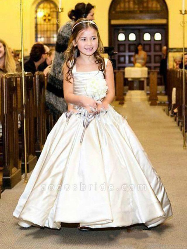 Princess / Ball Gown Floor Length Wedding / Party Flower Girl Dresses - Satin Sleeveless Bateau Neck With Sash / Ribbon / Bow(S) / Pleats