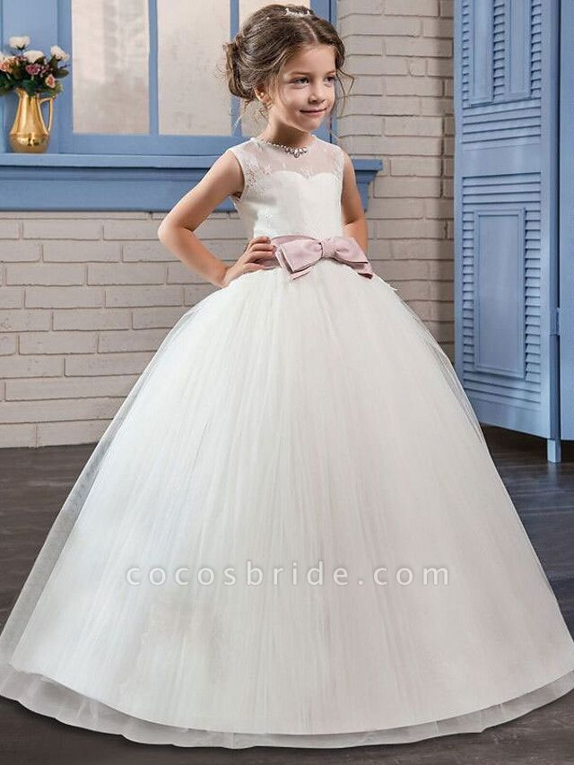 Princess Long Length Flower Girl Dress - Tulle / Mikado Sleeveless Jewel Neck With Bow(S) By Lan Ting Express