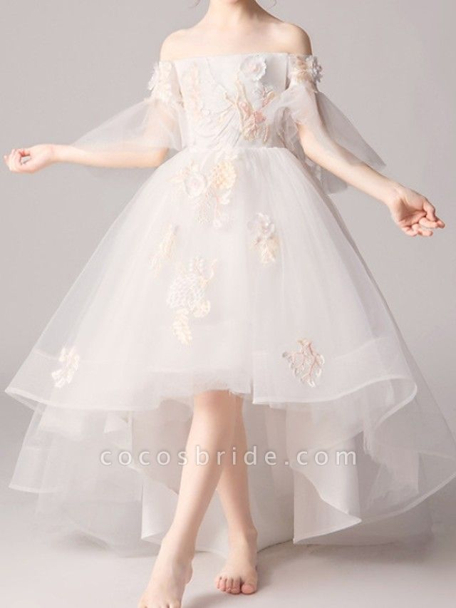 A-Line Asymmetrical Pageant Flower Girl Dresses - Polyester Half Sleeve Off Shoulder With Appliques
