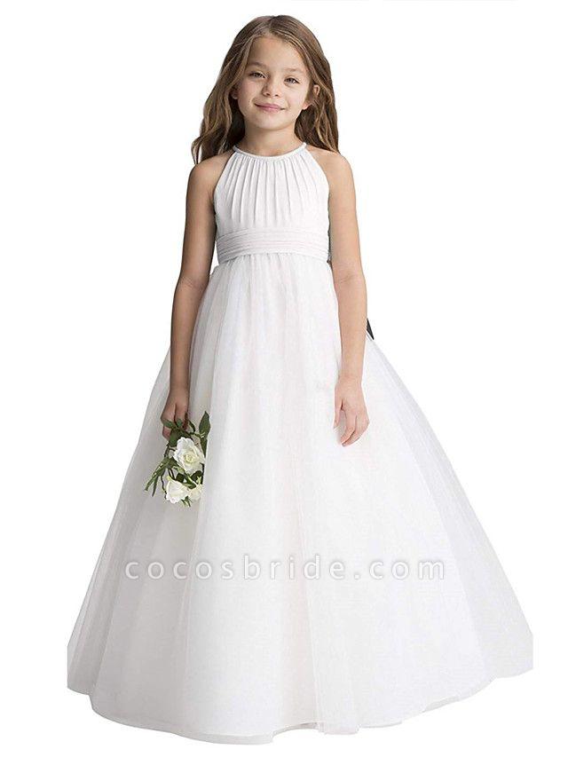 Princess Long Length Christmas / Birthday / First Communion Flower Girl Dresses - Chiffon / Organza / Tulle Sleeveless Jewel Neck With Draping
