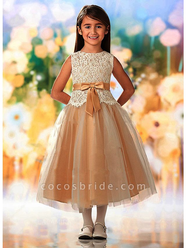 A-Line Ankle Length Wedding / Party Flower Girl Dresses - Lace / Tulle Sleeveless Jewel Neck With Sash / Ribbon / Appliques
