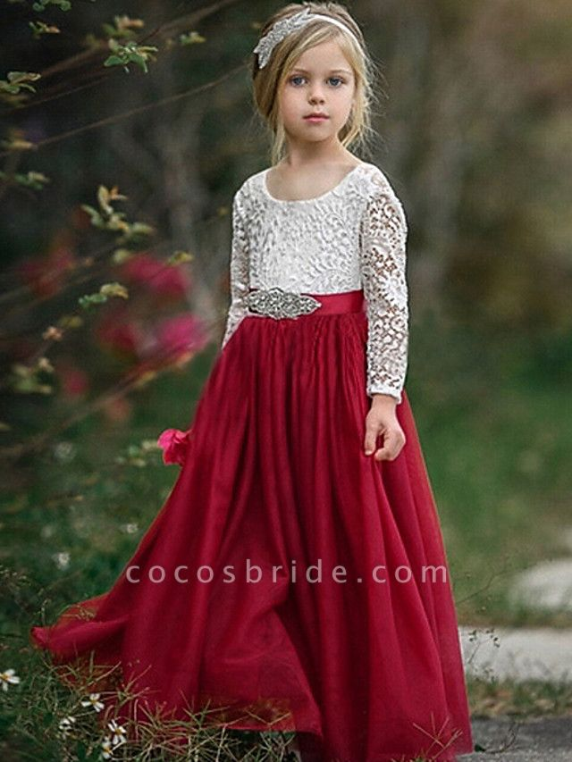 A-Line Floor Length Event / Party / Birthday Flower Girl Dresses - Poly Long Sleeve Jewel Neck With Lace / Sash / Ribbon / Pleats