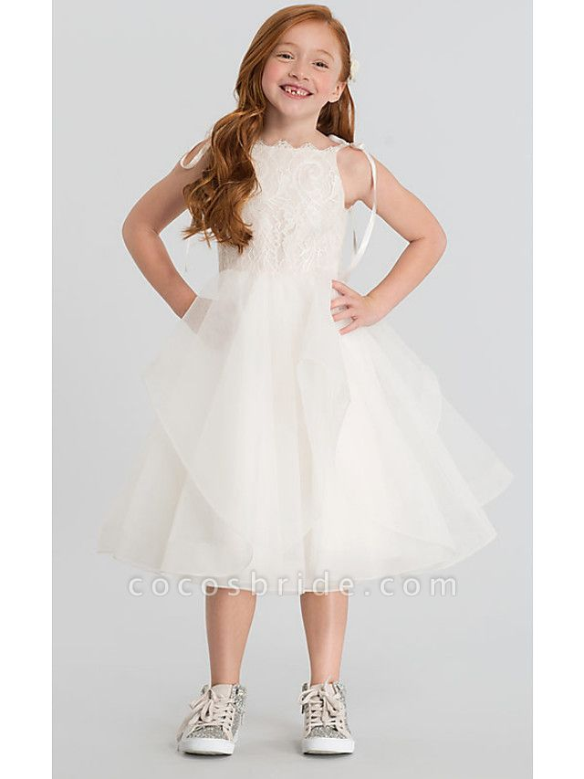 A-Line Tea Length Wedding Flower Girl Dresses - Lace / Satin / Tulle Sleeveless Scalloped Neckline With Tier / Solid