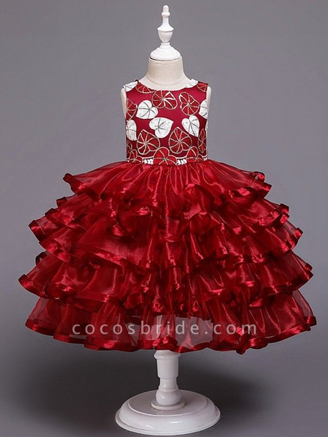 Princess / Ball Gown Knee Length Wedding / Party Flower Girl Dresses - Tulle Sleeveless Jewel Neck With Bow(S) / Tier / Appliques
