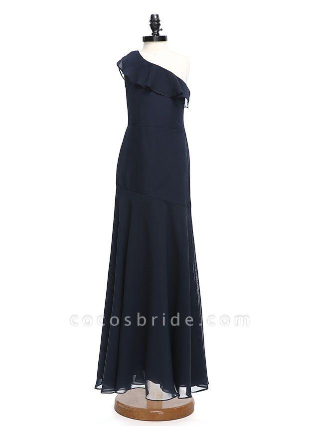 A-Line One Shoulder Floor Length Chiffon Junior Bridesmaid Dress With Ruffles / Natural
