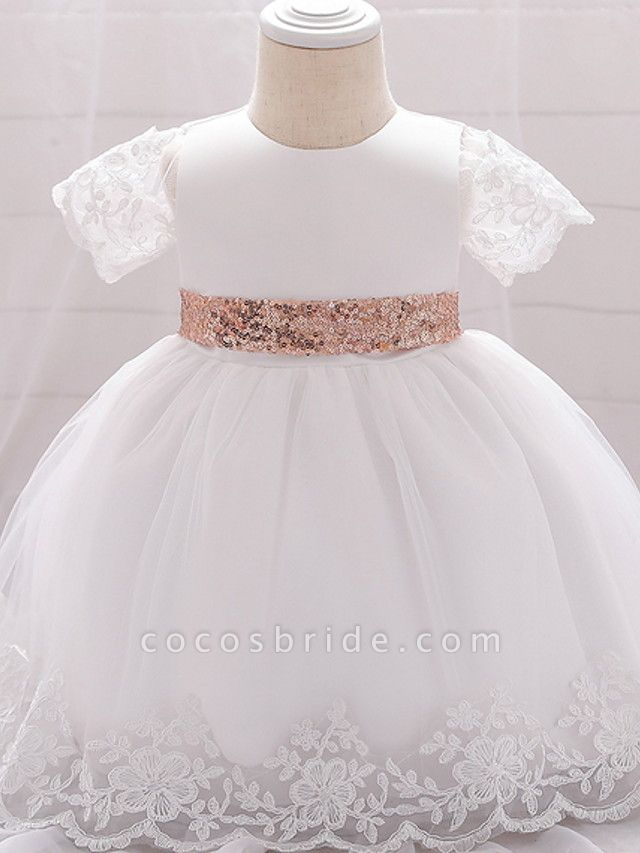 Ball Gown Floor Length Wedding / Party Christening Gowns - Lace / Satin / Tulle Sleeveless Jewel Neck With Bow(S) / Paillette