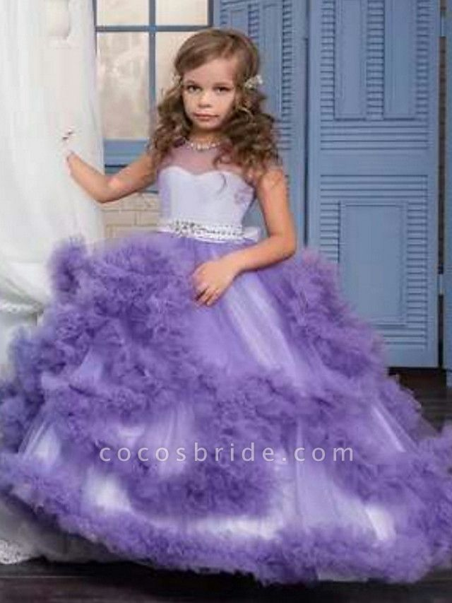 Ball Gown Sweep / Brush Train Wedding / Party Flower Girl Dresses - Tulle Sleeveless Jewel Neck With Solid / Tiered