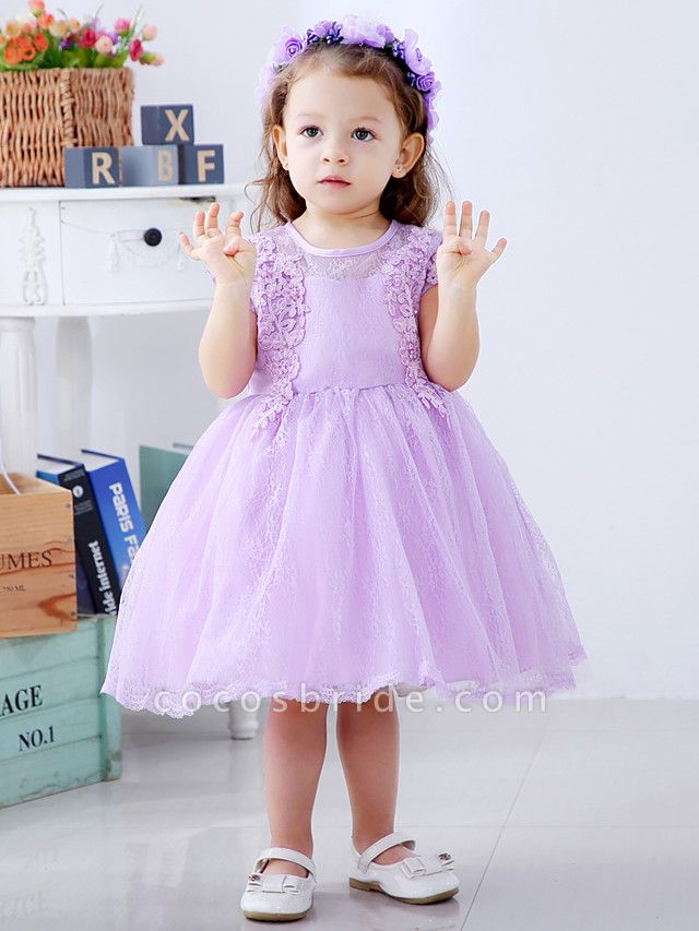 Ball Gown Medium Length Wedding / Party Flower Girl Dresses - Lace / Satin / Tulle Short Sleeve / Sleeveless Jewel Neck With Lace / Bow(S) / Appliques