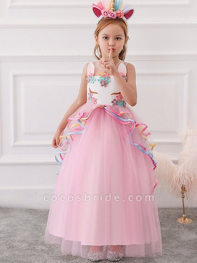 Princess / Ball Gown Floor Length Wedding / Party Flower Girl Dresses - Tulle Sleeveless Illusion Neck With Appliques / Cascading Ruffles
