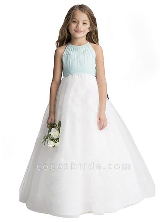 A-Line Floor Length Wedding / Party Flower Girl Dresses - Chiffon / Tulle Sleeveless Jewel Neck With Ruffles